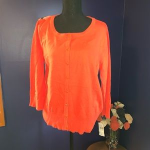 NWT coral cardigan sweater floral back XL